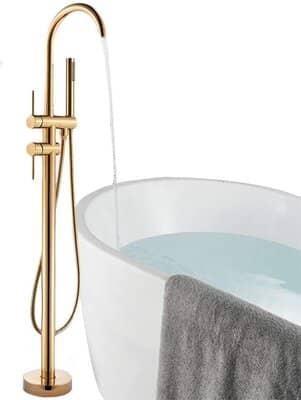 Onyzpily Gold Floor Mounted Bathtub Bathroom Tap