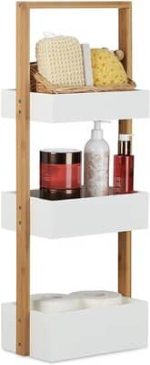 Relaxdays Wood 3 Tier Bathroom Free Standing Shower Caddy