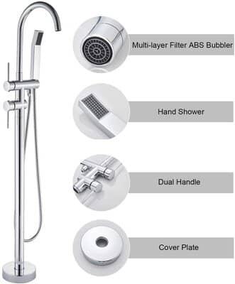 Rozin Freestanding Bathtub Shower Tap