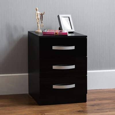Amazon Brand Movian High Gloss 3 Drawer Bedside Cabinet
