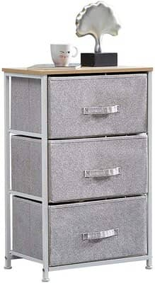 Ansley&HosHo Grey Chest of 3 Drawers