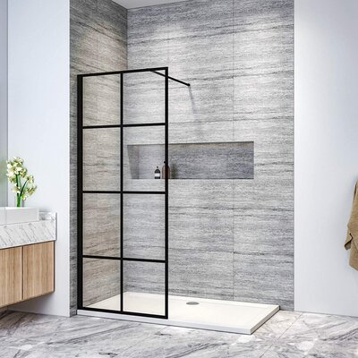 ELEGANT Stain Black 760mm Walkin Shower