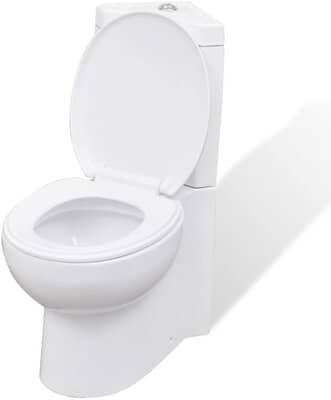 vidaXL WC Ceramic Bathroom Corner Toilet