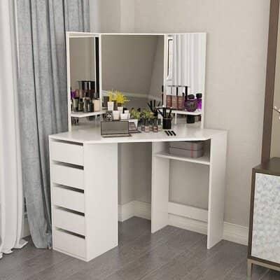 Bespivet White Corner Dressing Table