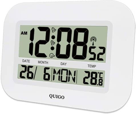 QUIGO Digital Wall Clock Alarm Radio Controlled