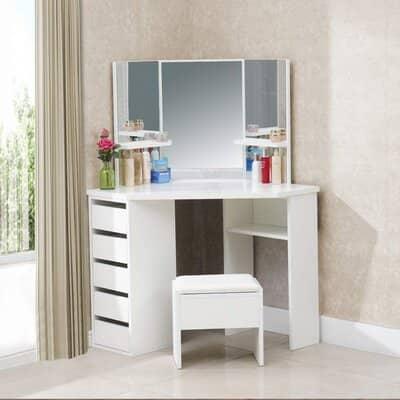 TUKAILAI White Corner Curved Dressing Table