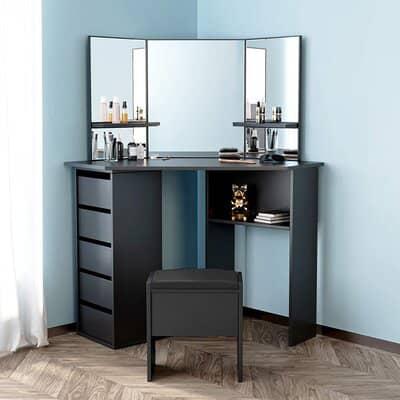 YFMXO Black Corner Dressing Table