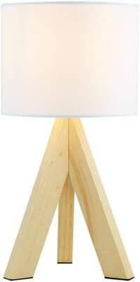 Lighting Collection Wood Tripod Base Table Lamp