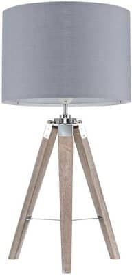 Modern Distressed Wood and Silver Chrome Tripod Table Lamp