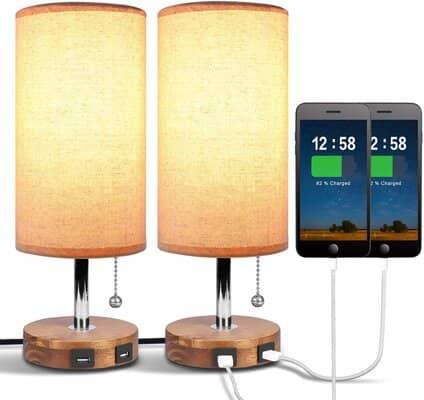 Dual USB Bedside Table Lamp