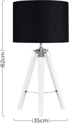 Modern White Wood and Silver Chrome Tripod Table Lamp