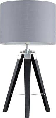 Modern Black Wood and Silver Chrome Tripod Table Lamp